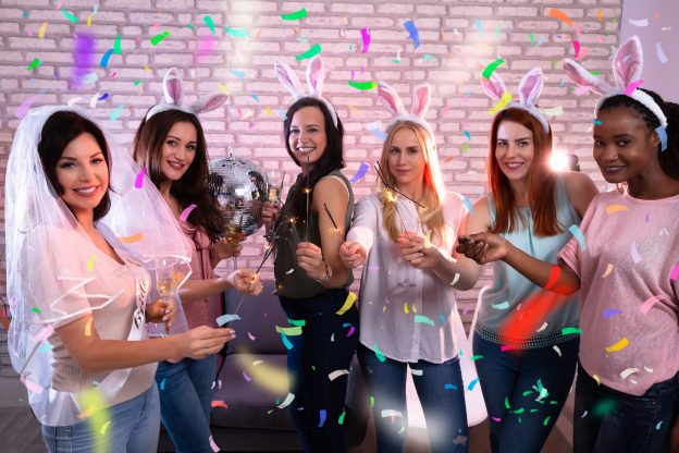 Girls at Bachelorette party with sparklers