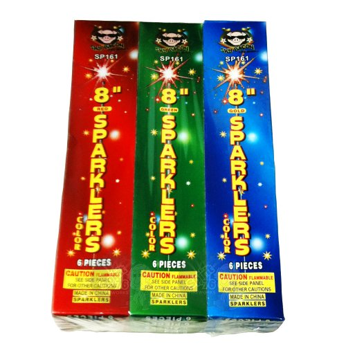 72pc #8 Color Sparklers -12 Packages of 6 Sparklers